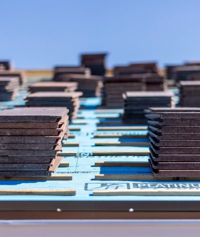 Flat Tiles Stacked on the Roof by Heritage Roofing 3