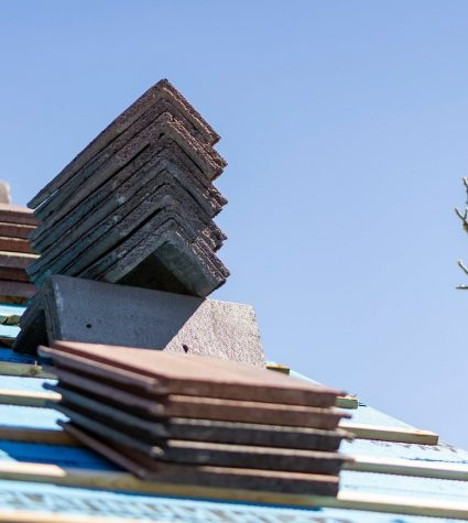 Flat Tiles Stacked on the Residential Roof by Heritage Roofing 2