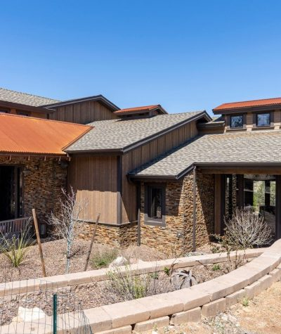Ultra GAF Shingles Roof with Corrugated Rusted Iron Oxide Metal Metal Roof (Full House) by Heritage Roofing in Prescott, AZ