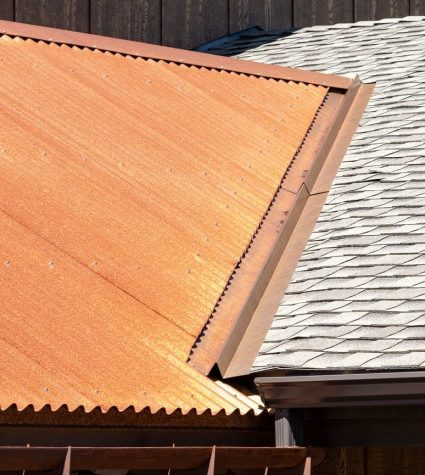 Closeup of Ultra GAF Shingles Roof with Corrugated Rusted Iron Oxide Metal Metal Roof by Heritage Roofing in Prescott, AZ