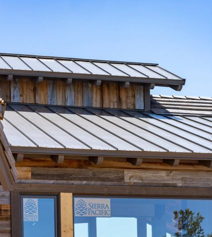 Close Up From the Front of House of Flat Tile with Standing Seam Metal Roof on a Newly Constructed Residential Home by Heritage Roofing in Prescott, AZ
